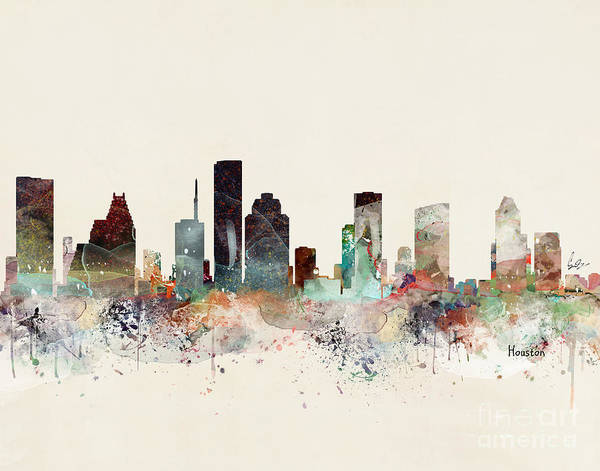 Houston Art Print featuring the painting Houston Texas Skyline by Bri Buckley