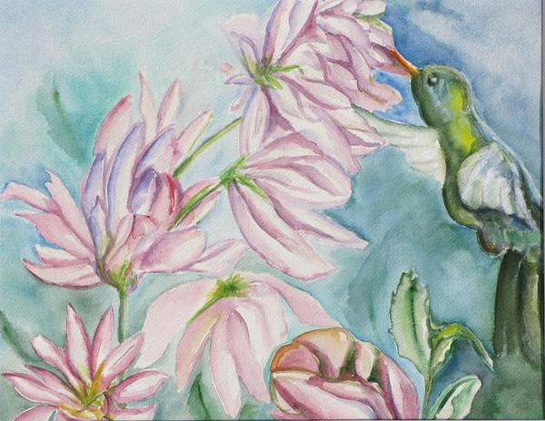 Nature Art Print featuring the painting Humming Bird by Kathy Mitchell