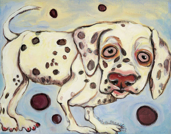 Dog Portrait On Canvas Art Print featuring the painting I See Spots by Michelle Spiziri