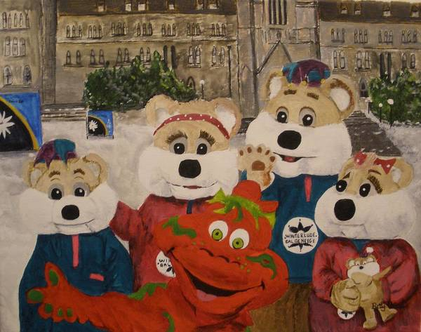 Winterlude Art Print featuring the painting Ice Hog Family by Betty-Anne McDonald