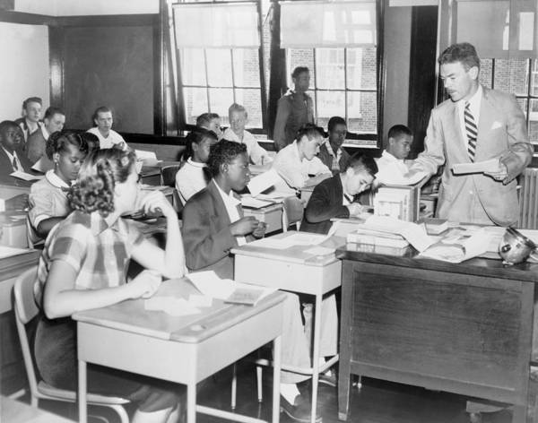 History Art Print featuring the photograph Integrated Classroom In Washington by Everett