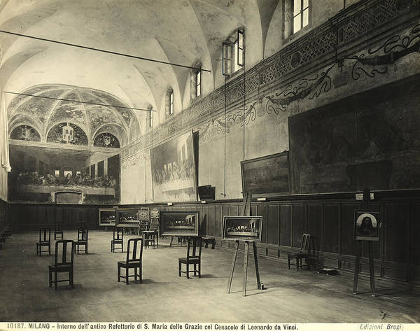 Wall; Fresco; Ecclesistical Interior; Vaulted Ceiling; Da Vinci; Refectory; Convent Art Print featuring the painting Interior Of The Dining Hall Of The Church Of Santa Maria Delle Grazie Milan by Alinari