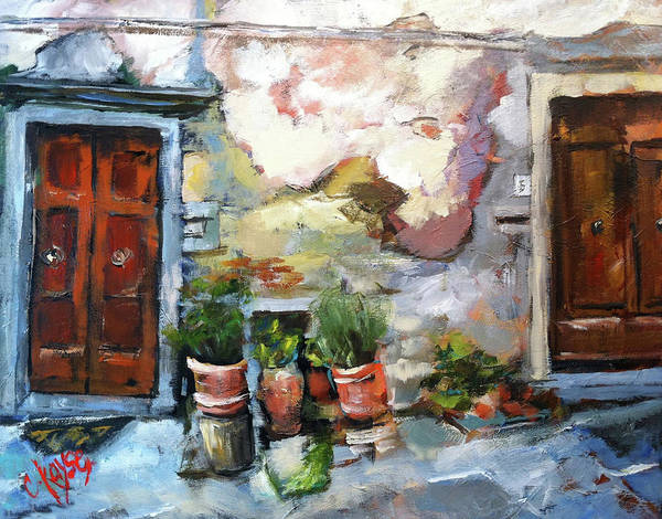 Italy Art Print featuring the painting Italian Doors by Claire Kayser