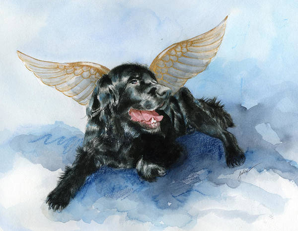 Dog Art Print featuring the painting Jake Angel by Galen Hazelhofer
