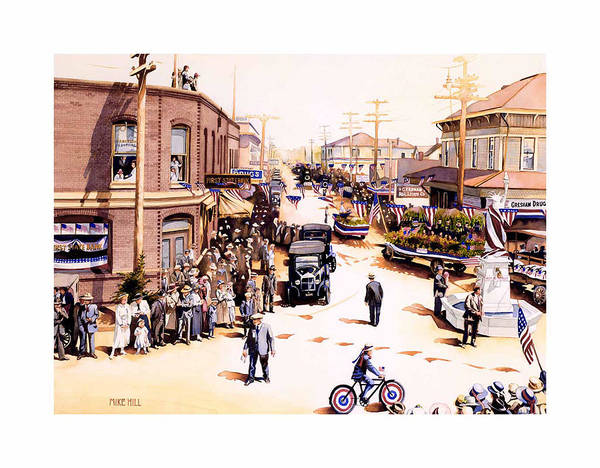 Gresham Parade Fourth Of July Armistice Day 1919 Statue Liberty Bike Float Flag Patriotic Celebrate Art Print featuring the painting Keep To The Right by Mike Hill