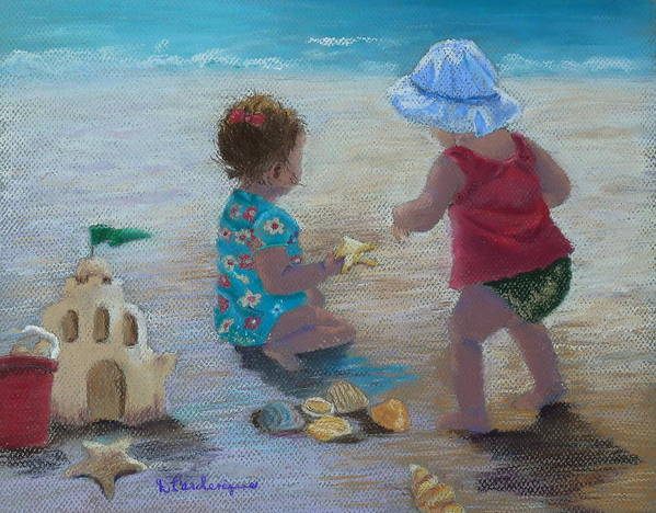 Kids Art Print featuring the painting Kids Having A Shell Time In Holmes Beach by Diane Larcheveque