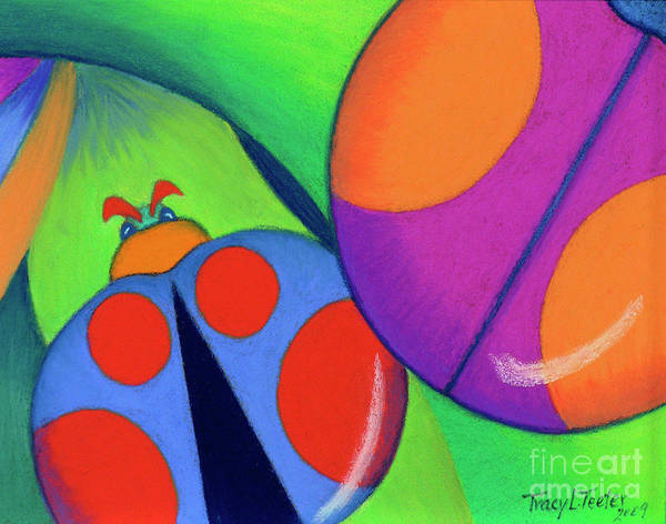 Bug Art Print featuring the pastel Ladies On A Leaf by Tracy L Teeter