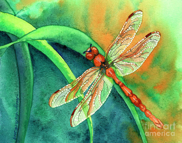 Dragonfly Art Print featuring the painting Lazy Days by Tracy L Teeter