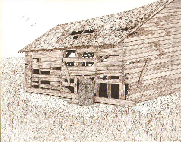 Pen And Ink Print featuring the drawing Lee's Barn by Pat Price