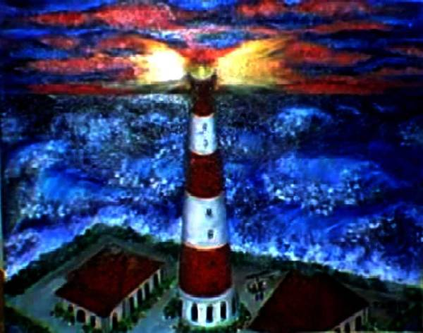 Lighthouse Art Print featuring the print Light In The Storm by Tanna Lee M Wells