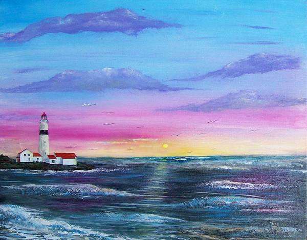 Seascape Art Print featuring the painting Lighthouse 5 by Tony Rodriguez