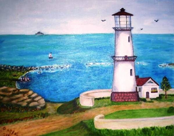 Lighthouse Seascape Sailboats Art Print featuring the painting Lighthouse Glory by Gloria M Apfel