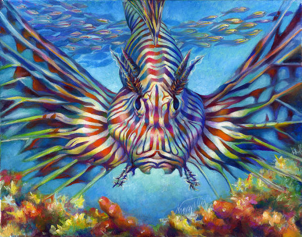 Lion Fish Art Print featuring the painting Lion Fish by Nancy Tilles
