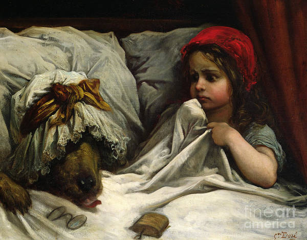 Wolf; Disguise; Child; Girl; Fairy Tale; Story; Glasses; Bed; Nightcap; Fear Art Print featuring the painting Little Red Riding Hood by Gustave Dore
