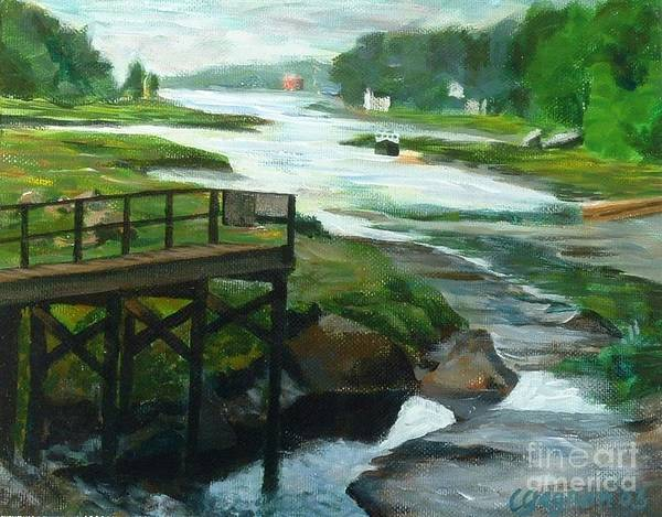 River Art Print featuring the painting Little River Gloucester Study by Claire Gagnon