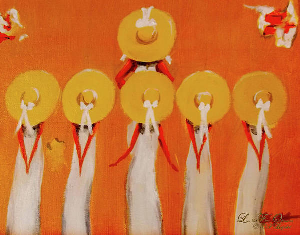 Love Straw Hats Art Print featuring the painting Love And Five Opinions by C F Legette