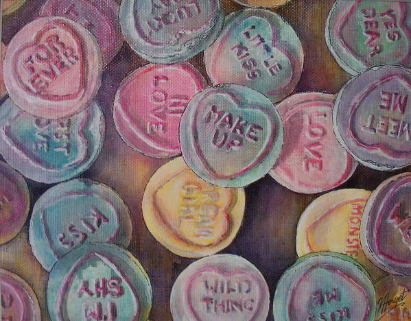 Candy Art Print featuring the painting Love Hearts by Victoria Heryet