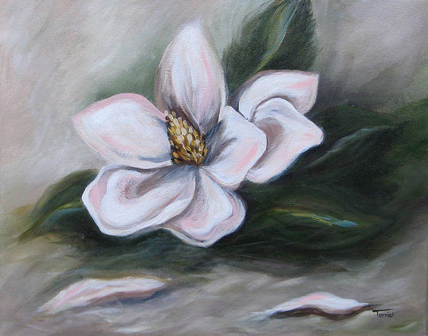 Flower Art Print featuring the painting Magnolia Two - 2007 by Torrie Smiley