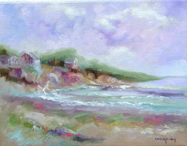Maine Coastline Art Print featuring the painting Maine Coastline by Ginger Concepcion