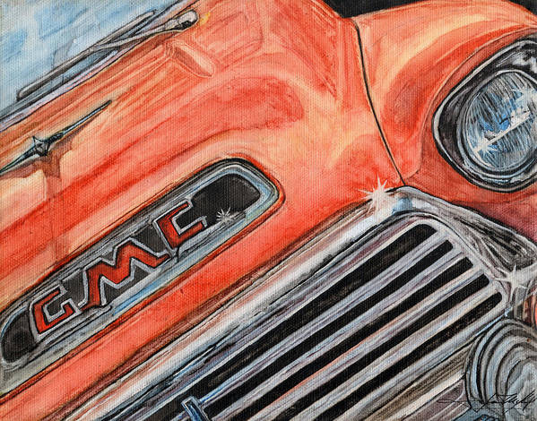 Truck Art Print featuring the painting Man Cave #1 by Jason McKeel