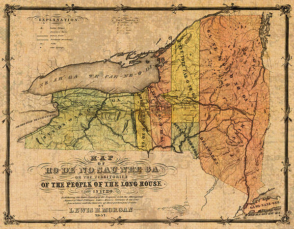photograph regarding Printable Maps of New York State referred to as Map Of Clean York Place Displaying Unique Indian Tribe Iroquois Landmarks And Territories Circa 1720 Artwork Print