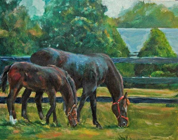 Equine Art Art Print featuring the painting Mare And Foal by Stephanie Allison