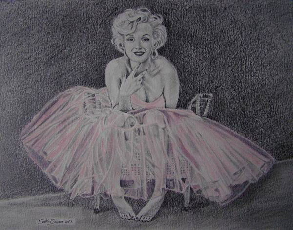 Marilyn Monroe Art Print featuring the drawing Marilyn In Pink by Cynthia Snider