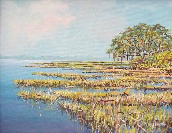 Marsh. Nature Art Print featuring the painting Marshland by Sinisa Saratlic