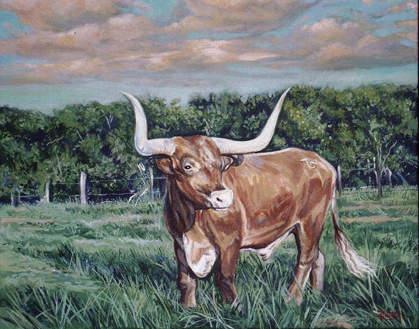 Bull Art Print featuring the painting Mays Longhorn by Diann Baggett