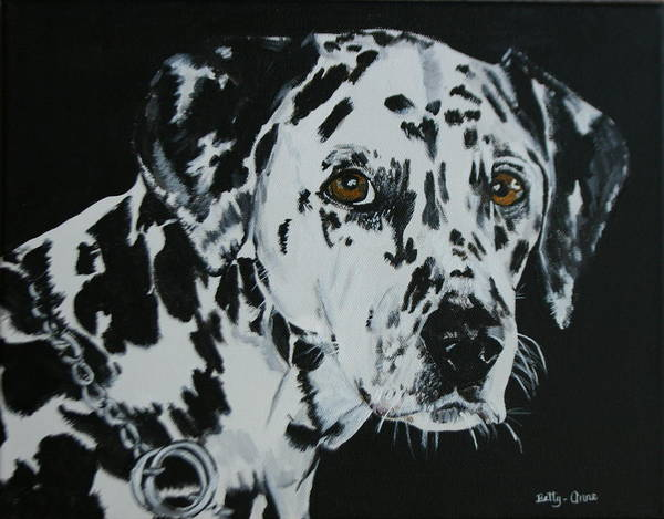Done By Request From My Sister-in-law...she Is Going To Give This Painting To Her Niece Who Is The Owner Of Annie. Art Print featuring the painting Meet Annie by Betty-Anne McDonald