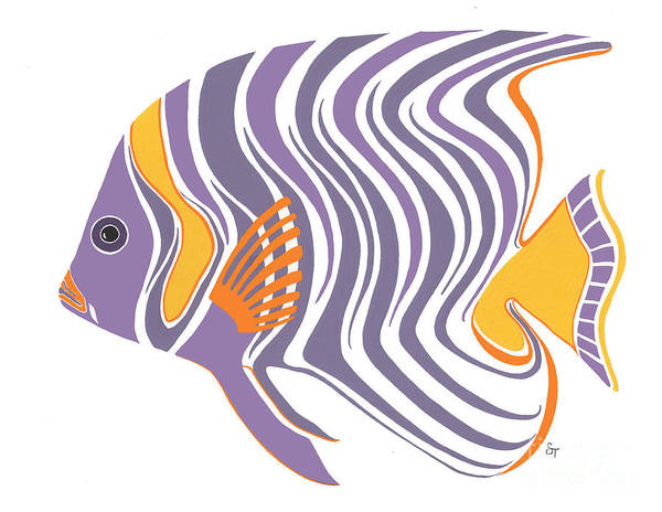 8ef471fa4d430 Mid Century Modern Wall Art Art Print featuring the painting Mid Century  Purple Fish by Stephanie