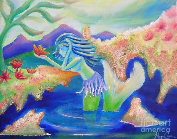 Mermaid Art Print featuring the painting Molly Mermaid by Morgan Leshinsky