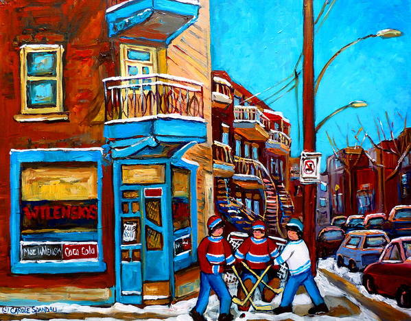 Montreal Print featuring the painting Montreal City Scene Hockey At Wilenskys by Carole Spandau
