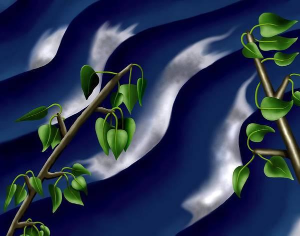 Surrealism Art Print featuring the digital art Moon-glow I - Poplars Over Water At Night by Robert Morin