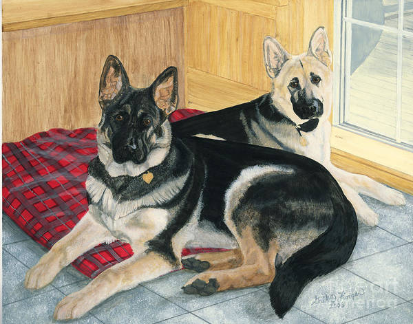German Shepards Art Print featuring the painting Morgan And Brie by Gail Finger