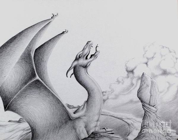 Dragon Art Print featuring the digital art Morning Bellow by Robert Ball