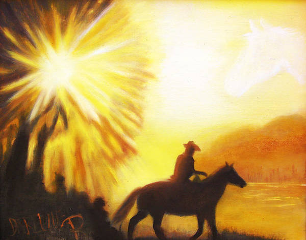 Sunrise Art Print featuring the painting Morning Ride by Darlene Green