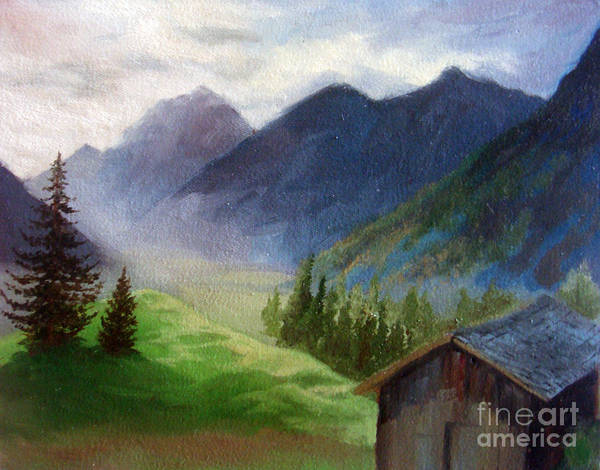 Mountain Art Print featuring the painting Mountains by Teenu Jacob