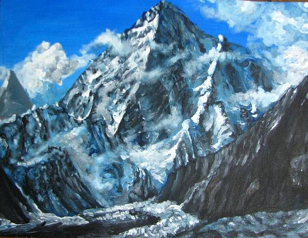 Mountains Art Print featuring the painting Mountains View Landscape Acrylic Painting by Natalja Picugina