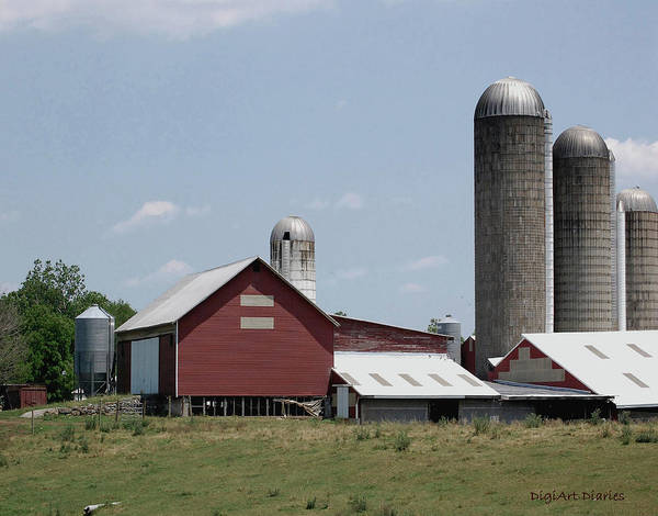 Barn Art Print featuring the digital art Multi Silo Farm by DigiArt Diaries by Vicky B Fuller