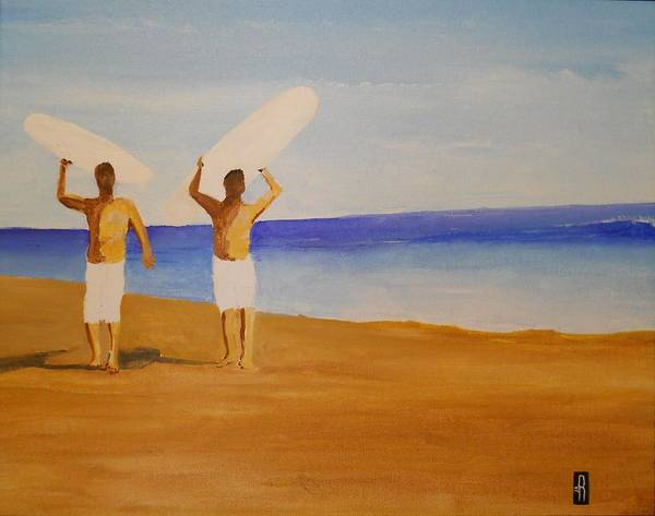 Surf Art Print featuring the painting my brother and I by Fred Reid
