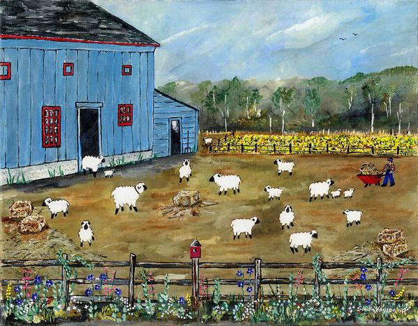 Folk Art Art Print featuring the painting My Neighbor by Sandie Keyser