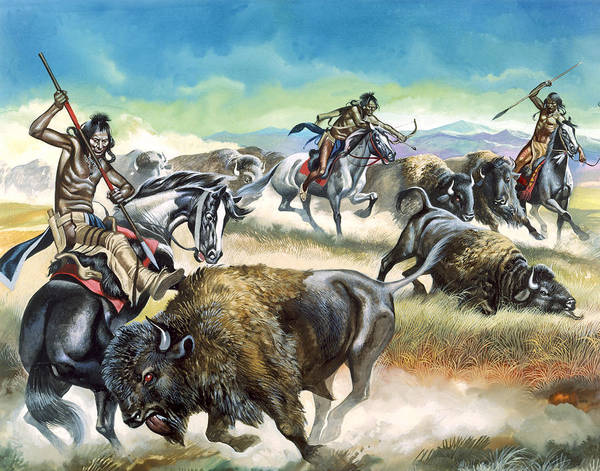 Native Art Print featuring the painting Native American Indians Killing American Bison by Ron Embleton