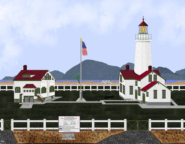 Lighthouse Art Print featuring the painting New Dungeness Lighthouse At Sequim Washington by Anne Norskog