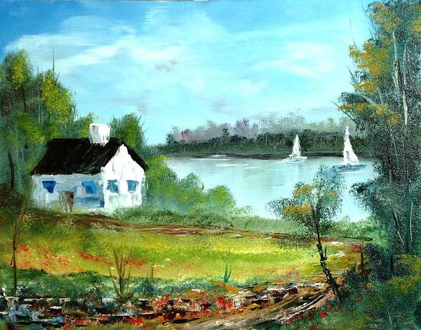 Landscape Art Print featuring the painting New England Cottage by Larry Hamilton