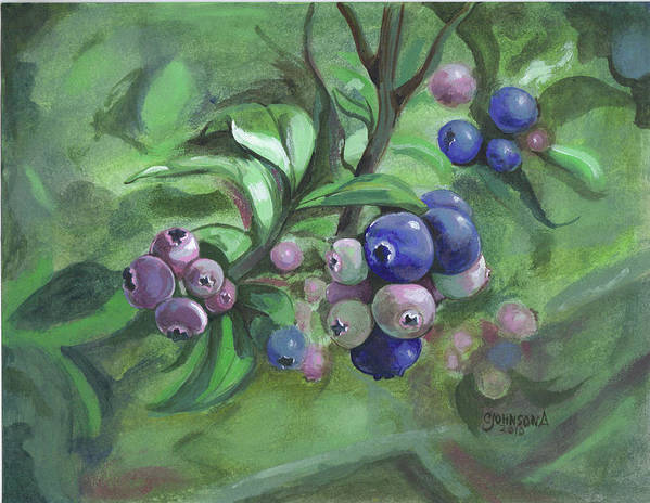 Blueberries Art Print featuring the painting Not Quite Ready To Pick 2010 by Cheryl Johnson