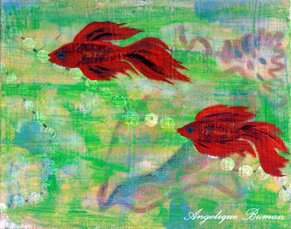 Animals Art Print featuring the painting Ocean Layers by Angelique Bowman