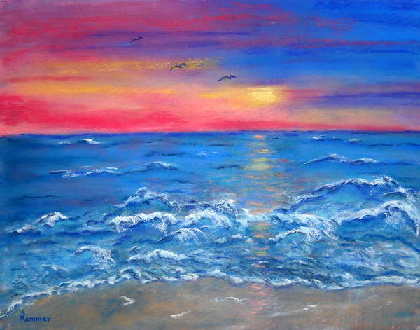Seascape Art Print featuring the painting Ocean Sunrise by Sandy Hemmer