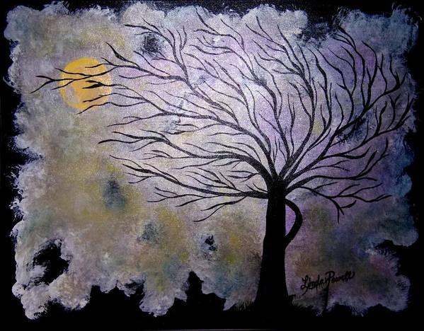 28 Inch Abstract Acrylic Night Landscape Art Print featuring the painting October Night 3 by Linda Powell