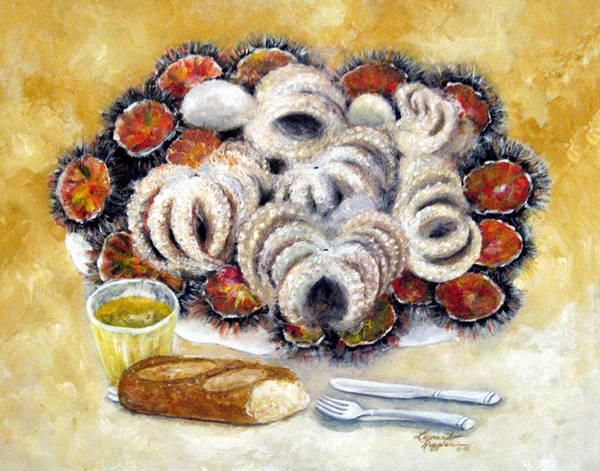 Still Life Art Print featuring the painting Octupus And Sea Urchins Dinner by Leonardo Ruggieri